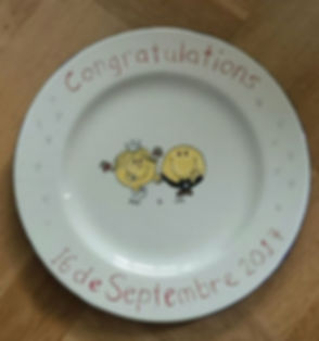 A Lovely hand painted plate made for a wedding gift