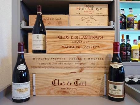Bourgogne en caisse bois : Clos de Tart, Domaine Jacques-Frédéric Mugnier et Clos des Lambrays