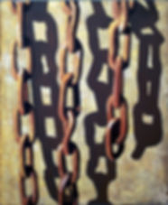 Chains with shadow 10, oil on canvas