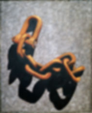 Chain with shadow 09, oil on canvas
