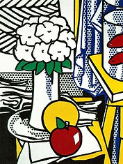 Still  Life by Roy Lichtenstein with his signature dot pattern in the background.