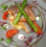 seabass with asparagus, sundried tomato,