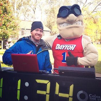 5K finish line with the University of Dayton Rudy Flyer mascot