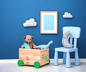 Children's room with bright color wall,