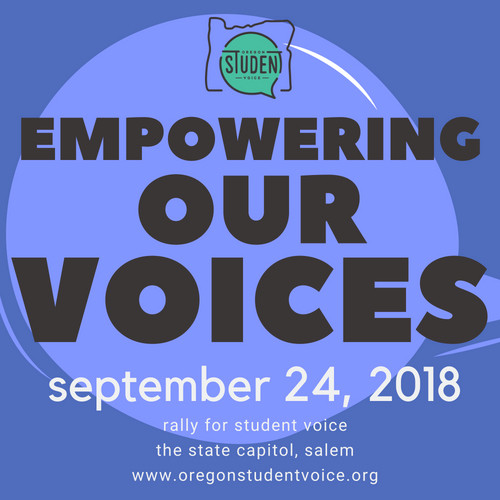 Empowering Our Voices blue graphic. Rally for Students on September 24, 2018