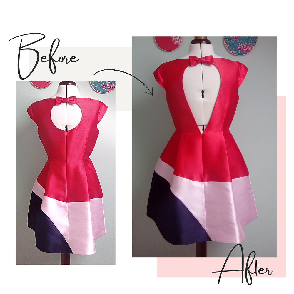 Occasion wear prom dress alterations restyling too small make bigger seamstress manchester