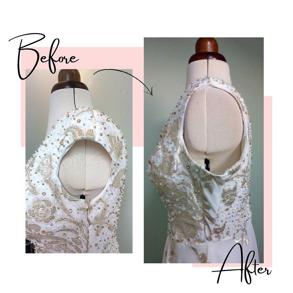 Bridal gown wedding dress ballgown henna dress alterations restyling seamstress making bigger manchester