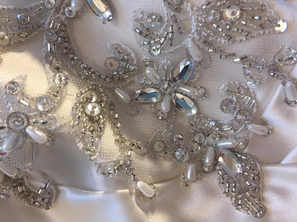 wedding dress bridal gown bodice decoration beading sparkle