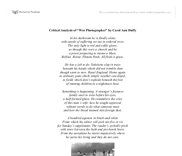 An analysis of symbols in war photographer by carol ann duffy