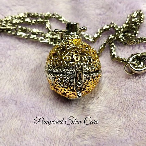 Silver & Gold Filigree Aromatherapy Locket
