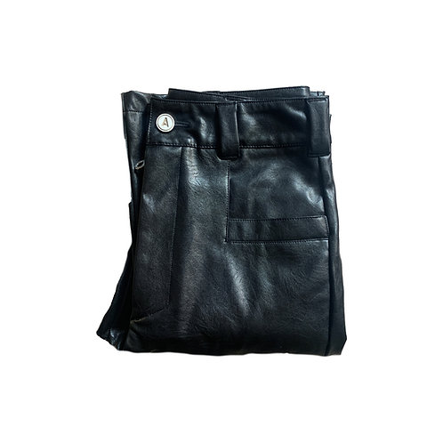 Vegan Leather Slit Trousers