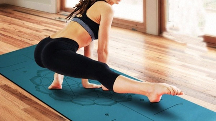 Natural rubber Suede YOGA MAT Heathyoga PRO Yoga Mat with Body Alignment Lines