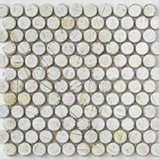 Penny Round Teak Tile in White. Prices are Per Square Foot