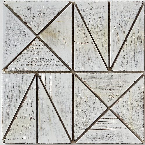 Amy Teak Tile in White, Resin Coated. Prices are Per Square Foot