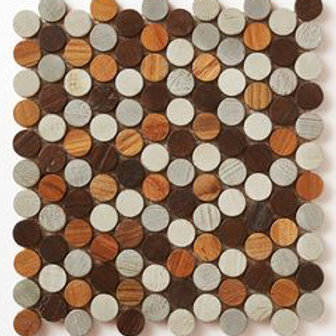 Penny Tiles in Teak Mix.    Prices are Per Square Foot.