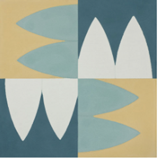 "Aarhaus Cement Tile in 8""x8"" yellow/aqua/white/teal. Prices are Per Square Foot"