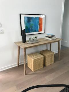 Wooden Console, Orange AFTS, Rattan Pouf