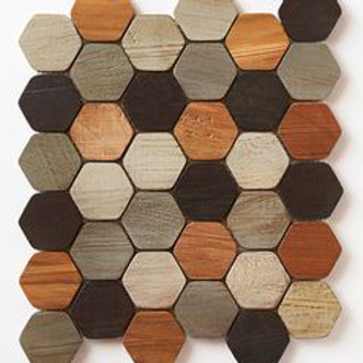 Hexagon Teak Tiles in a Mix.  Prices are Per Square Foot.