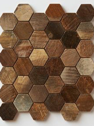 Hexagon Teak Tiles in a Patina.  Prices are Per Square Foot