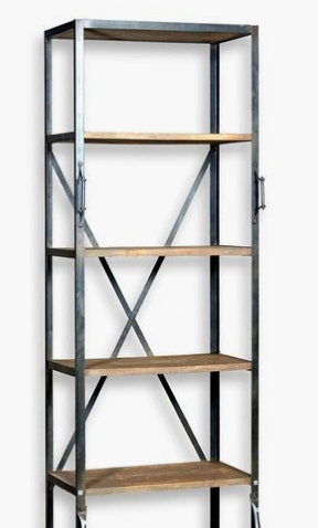 metal and wood book case