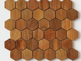Hexagon Teak in   Natural.  Prices are Per Square foot