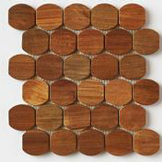 Barrel Teak Tiles in Natural. Prices are Per Square Foot