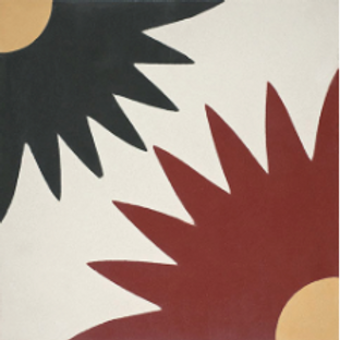 """Kotka Cement tile in 8""""x8""""  coral/white/black/yellow. Prices are Per Square Foot"""