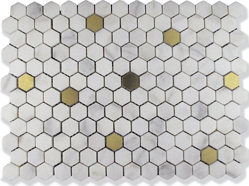 """Fairmont Small Hex MarbleTile in 1"""". Prices are Per Square Foot"""