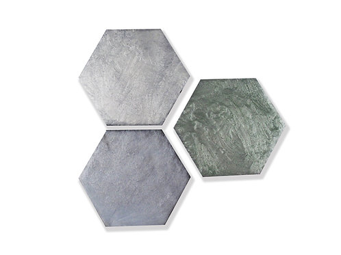 "Tempered Collection in Fog Blend Hex 5"". Prices are Per Square Foot"