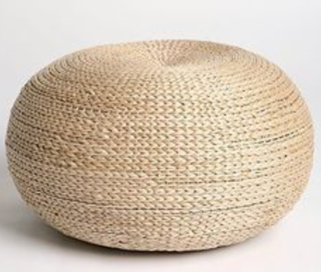 round rattan pouf