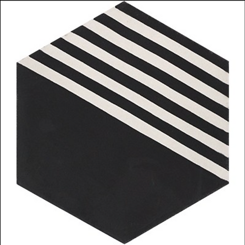 """Lee Collection in Dale Black and White 8"""" Hex. Prices are Per Square Foot"""