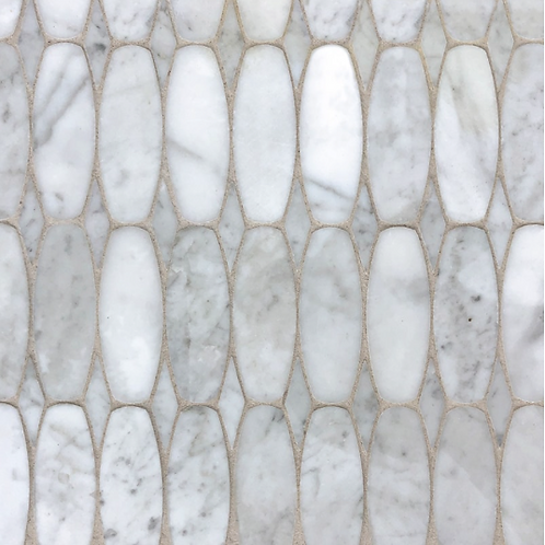 Oval Scale  White Carrara Polished. Prices are Per Square Foot