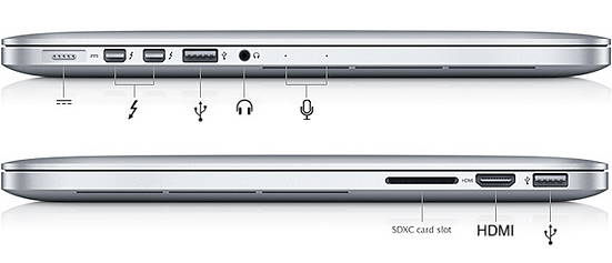 macbook pro notebook different type of ports