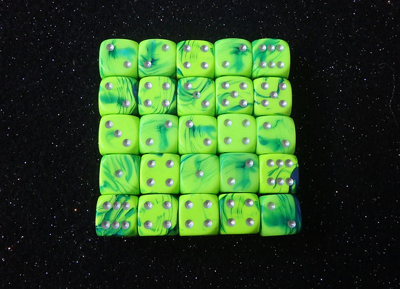 D&G Green & Blue Toxic Dice (12mm) - Set of 25