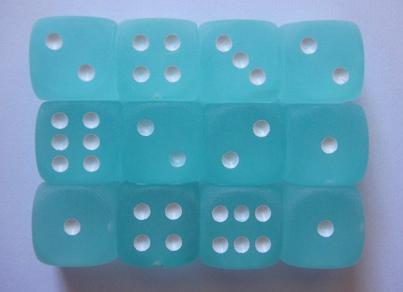 Chessex Frosted Blue Dice (12mm) - Set of 12