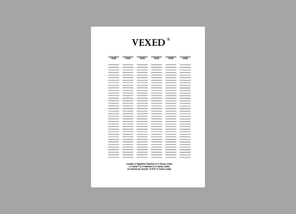 Vexed - Score Sheets