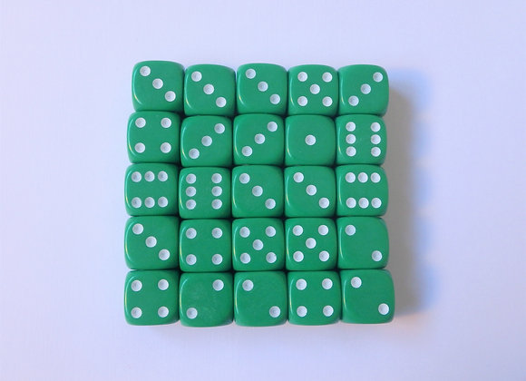 D&G Green Opaque Dice (12mm) - Set of 25