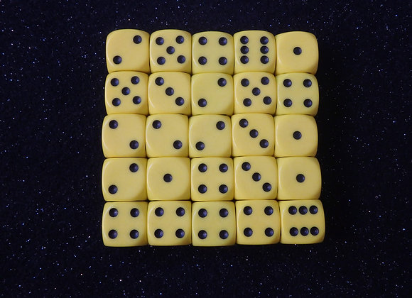 D&G Yellow Opaque Dice (12mm) - Set of 25
