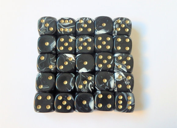 D&G Black Marble Dice (12mm) - Set of 25
