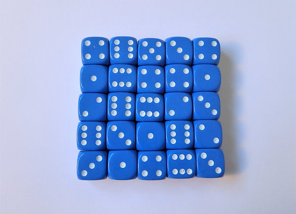 D&G Blue Opaque Dice (12mm) - Set of 25