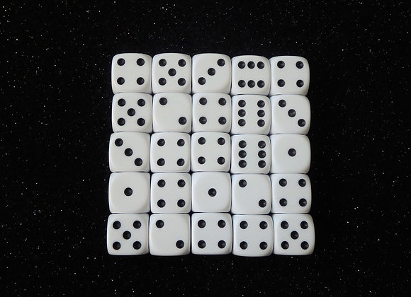 D&G White Opaque Dice (12mm) - Set of 25