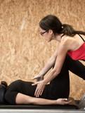 Pilates- foot work on thre reformer