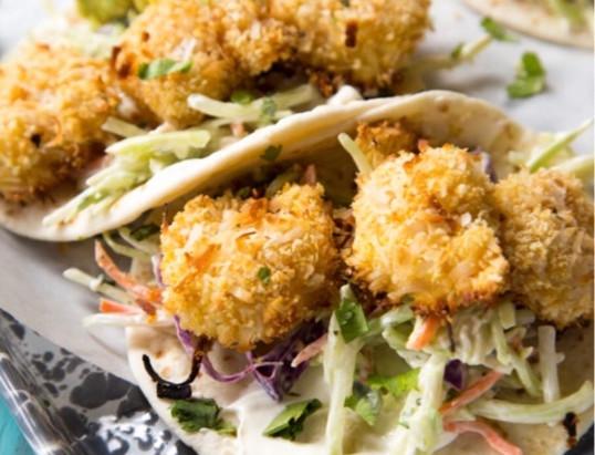 Coconut Crusted Shrimp (w/ Eggless Batter) & a Vegan Option