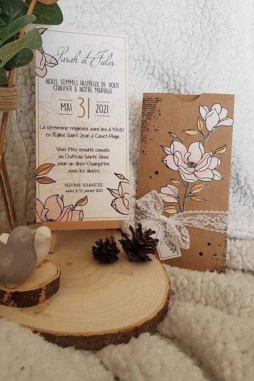 Faire-part de Mariage Magnolia Dentelle