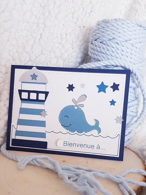 Faire part Naissance Blue Baleine