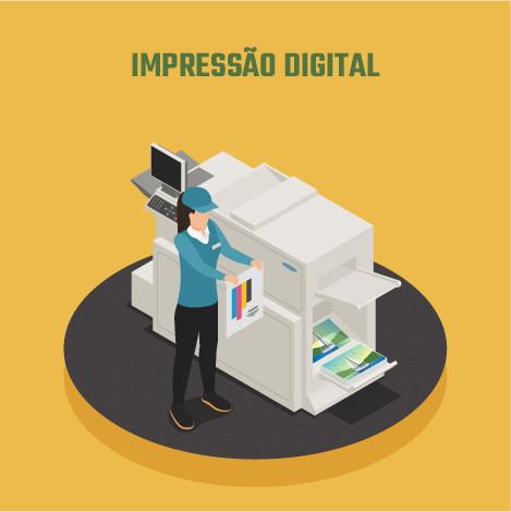 Ilustração representando o modelo de impressão digital, com uma única máquina impressora. Uma pessoa está verificando as cores em uma referência de impressão, enquanto algumas páginas aparecem já impressas.