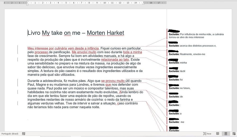 Reprodução de tela de computador com um documento de Word. No arquivo, estão indicados os apontamentos de edição.