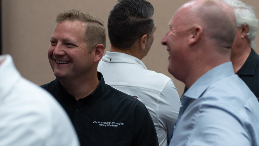 Thomas Bates of Correct Craft participating in the Dealer Week strategy session in 2018.