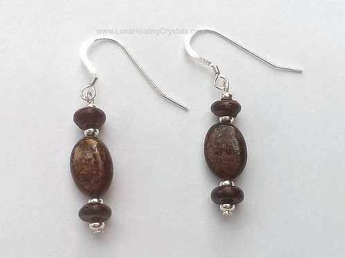 Bronzite and Silver Earrings
