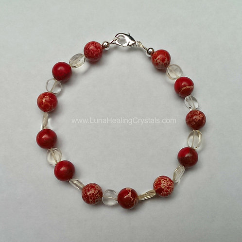 Red Sea Sediment Jasper and Citrine Bracelet